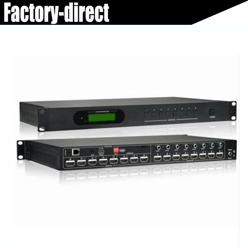 Professional 8x8 HDMI Matrix Switcher 4K HDMI Matrix w/audio RS232 HDCP 2.2 Support HDMI 2.0 inputs and HDMI 1.4 outputs for TV
