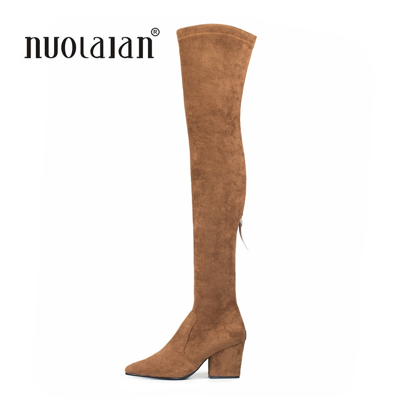 Women Thigh High Boots Suede Over The Knee Boots For Women 2018 Autumn Winter Ladies Fur Warm high Heel Boots Snow Shoes Woman knitted women high knee boots thigh high boots over the knee boots elastic slim autumn winter warm woman shoes botas feminina
