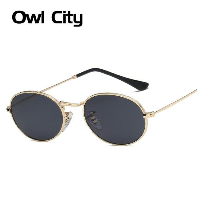 ecf2499e5 Owl City Classic Oval Óculos De Sol Das Mulheres Dos Homens Rodada Do Vintage  Óculos De