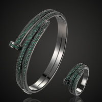 luxury brand double nail copper bangle ring jewelry sets fine women's couple cubic zircon bangle sets women's wedding bracelet