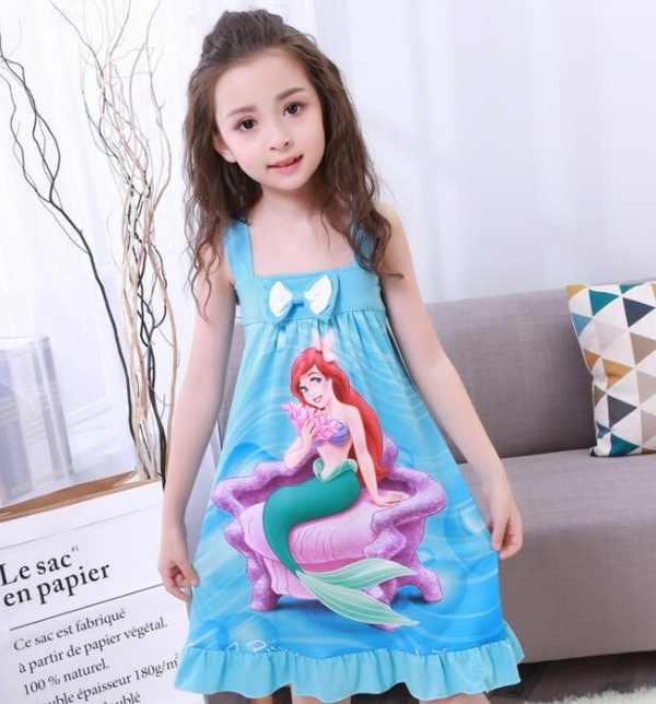 Платье принцессы модные летние мягкие платье для девочек Ночная рубашка  детские платья ночная Пижама Платье пижамы da83b7b4be2d6