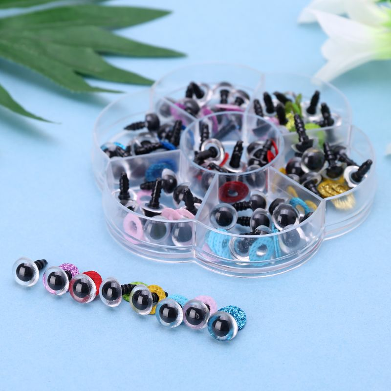 70Pcs Doll Puppet Plastic Eyes 10mm/0.39in DIY Safety Washers Pads For Handmade Doll Craft Children Kids Toy