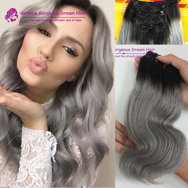 Incomparable Grey Clip In Chinese Human Hair 1bgrey Hair