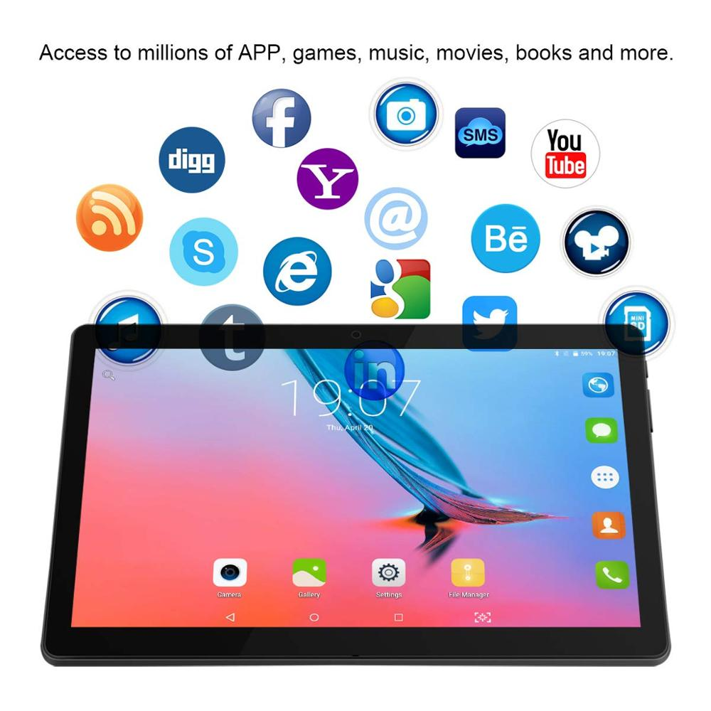 10.1 pouces tablette Pc Android tablette 1280*800 IPS 4 GB + 64 GB double SIM 3G tablette Quad Core Android 8.0 Bluetooth WiFi tablettes 10 - 3