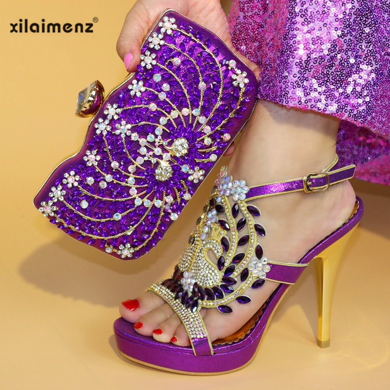 Couleur royal Cuir Chaussure En Talons Femmes Chaussures gold Violet À La De Sac Green Africaine Noce purple Pu Assortir 2019 Haute Pour Italie red Mode Blue Et Mis XZkuOPiT