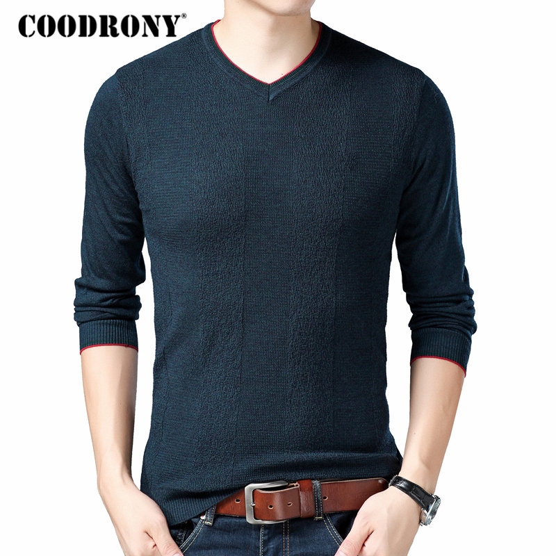 COODRONY Wool Pullover Knitwear Mens Sweaters V-Neck Homme Autumn Casual Cotton 91035