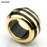 LYCOON Hot sale! 316L stainless steel plate yellow gold round ring with white resin Imported Enamel for women R0917