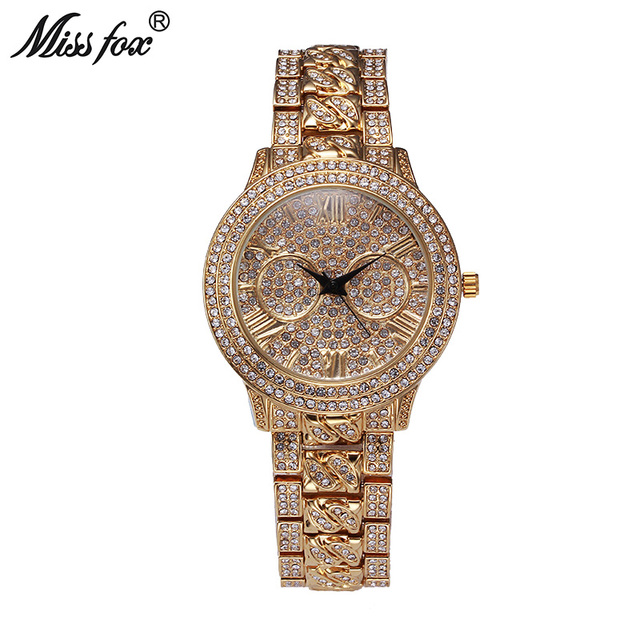 3ca240dd703 Miss Fox Global Genuine Watches For Sale Full Rhinestone Hot Luxury Latest  News Watch Gold Women Girls Arabic Numeral Land Hour