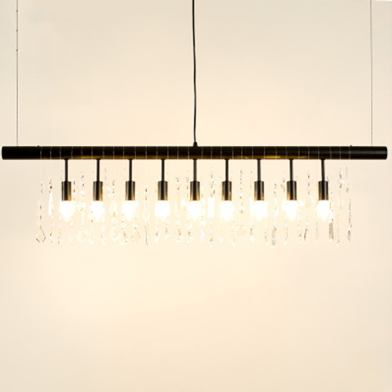 ZX LOFT American Iron Restaurant Pendant Lamp Crystal Retro LED E14 Lighting for Living Room Bar Shop Creative Indoor Lamp цена и фото