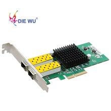 DIEWU 2 יציאת SFP רשת כרטיס 1G סיבים אופטי רשת מתאם PCIe 4X שרת Lan כרטיס עם אינטל 82576