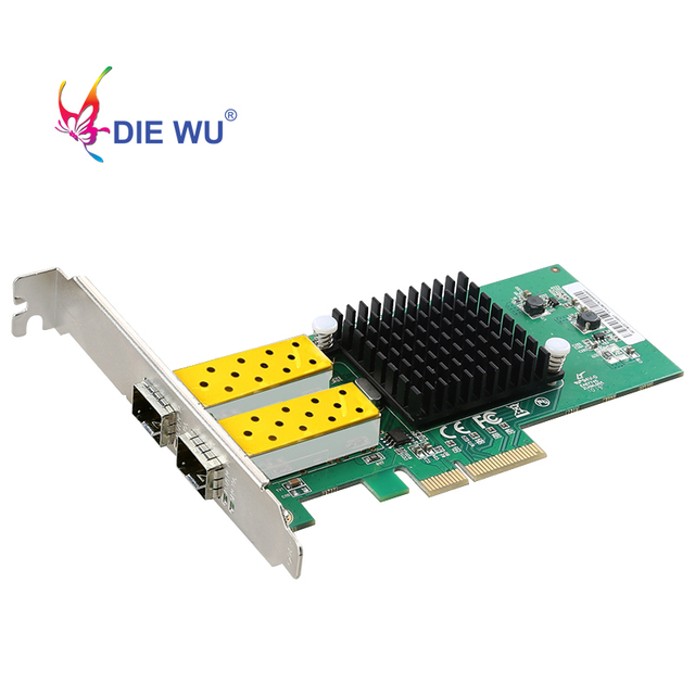 Сетевая карта DIEWU с 2 портами SFP, 1G, оптоволоконный сетевой адаптер PCIe 4X, Серверная Lan карта с Intel 82576