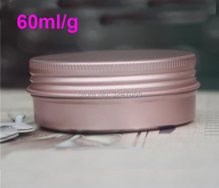 60ml 60g Rose Gold Aluminum Cosmetic Handmade Soap Packing Jar, Portable Metal Tin Pot for Beauty Cream, Aluminum Cream Jar