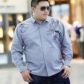 Бесплатная доставка 2016 осень плюс размер big men clothing жира с длинными рукавами рубашки бизнес случайные свободные серый Отложным воротник рубашки