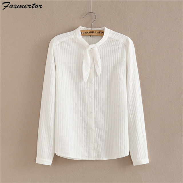 100% Cotton Shirt Foxmertor New 2017 Autumn Spring White Shirts Solid Blouses Women Casual Tops Long Sleeve Female Clothes #E250