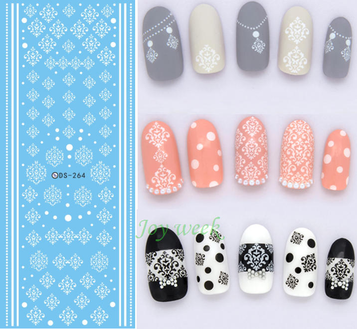 купить Water sticker for nail art all decorations sliders white lace adhesive nails design decals manicure lacquer accessoires foil дешево
