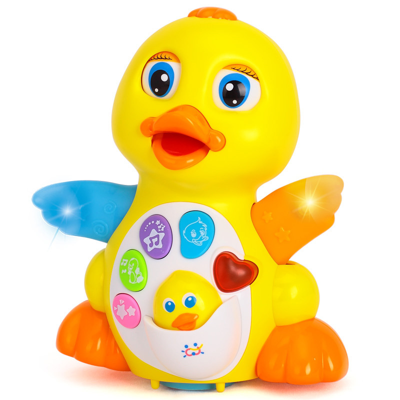 Cartoon Electric Swing Rhubarb Duck Toy Cute Infant Children Luminous Music Early Educational Toys New Comfort Baby Smart Toys