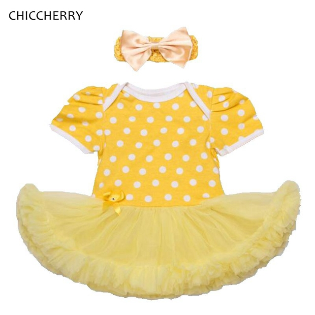 Желтый Девушка Новорожденный Одежда Короткие Рукава Младенческая Кружева Туту Платье Горошек Головная Повязка Vestido Infantil Малышей Наряды