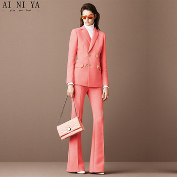 Jacket+Pants Deep Pink Womens Business Suits Female Office Uniform Blazer Ladies Winter Formal Trouser Suits Double Breasted