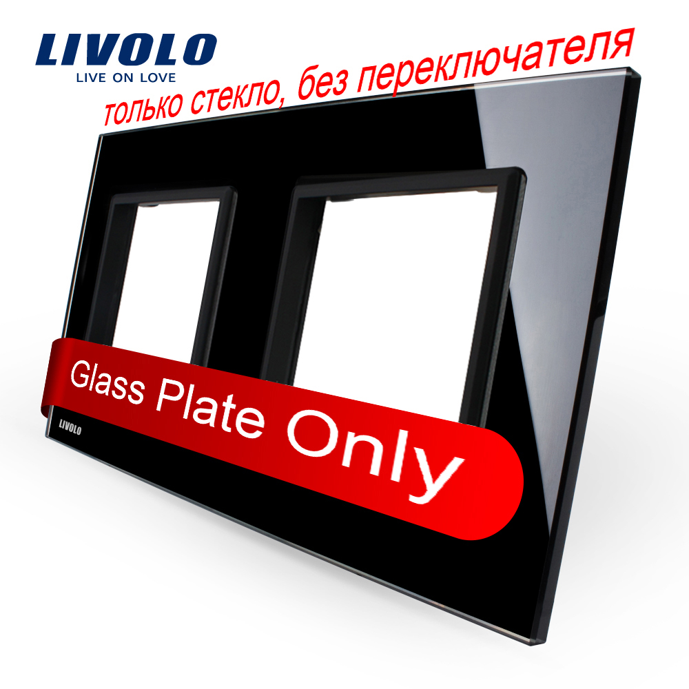 Livolo Luxury Black Pearl Crystal Glass, 151mm*80mm, EU standard, Double Glass Panel For Wall Touch Switch,VL-C7-SR/SR-12