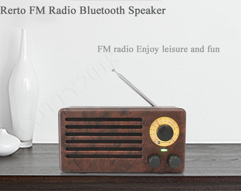 Tabletop High Sensitivity Anti-interferen Fm Radio Vintage Retro Portable Speaker Built-in Mircphone Wood Grain Hi-fi Sound Portable Speakers Speakers
