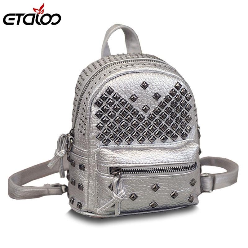 2017 new Korean fashion bag leather shoulder bag rivets children Mini Backpack tidal range