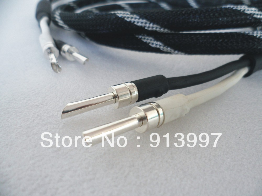 HiFi speaker cable DZ-3508 4N OFC pure silver banana plug,2.5M*2P OD14mm, - DIN ZHI AUDIO EQUIPMENT FACTORY store