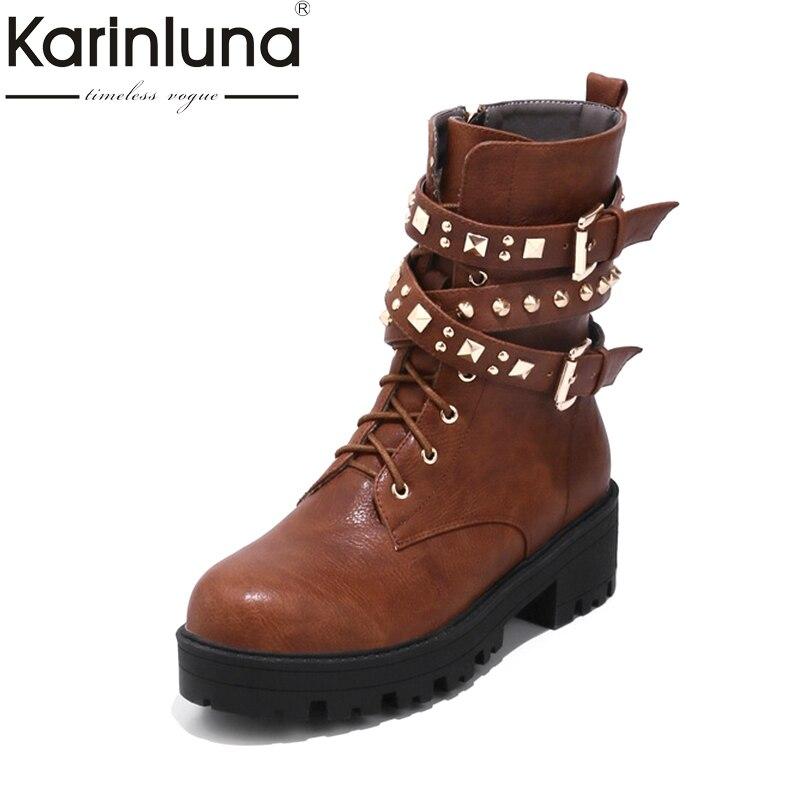 KARINLUNA New 2017 Large Size 32-48 Platform Girls Footwear Winter Martin Boots Fashion Rivets Buckles Shoes Women Black Brown 2017 new anti slip women winter martin