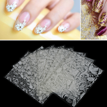 3D Hot Stamping Gold Silver Flower DIY Nail Art Sticker Decal Water Transfer Manicure Glitter Shiny Decor Beauty Tools 8 pcs/set Stickers & Decals