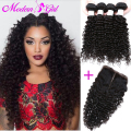 7A Brazilian Virgin Hair With Closure Deep Wave With Closure top Human Hair 4 Bundles Brazilian Curly Virgin Hair With Closure