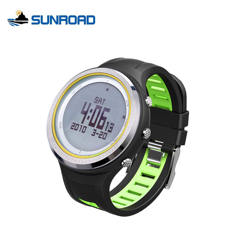 SUNROAD Outdoor Altimeter Barometer Watch Men Waterproof Digital Sports Backlight Compass Pedometer Thermometer Watches FR800NB  sunroad fr800nb sports watch men waterproof digital altimeter barometer compass watches pedometer men watch style clock green