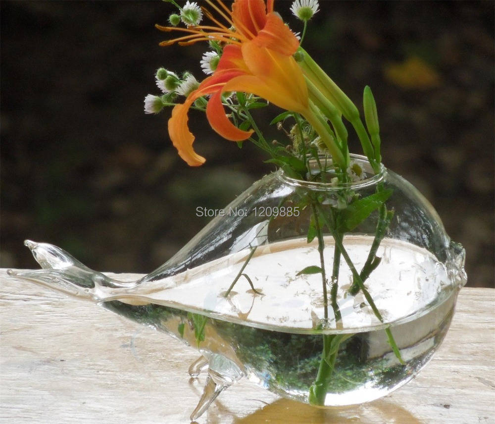 Flower vase with fish - O Roselif Hotel Decoration Glass Hydroponic Flower Implement Whale Vase Fleshy Moss Flowerpot Fish Tank