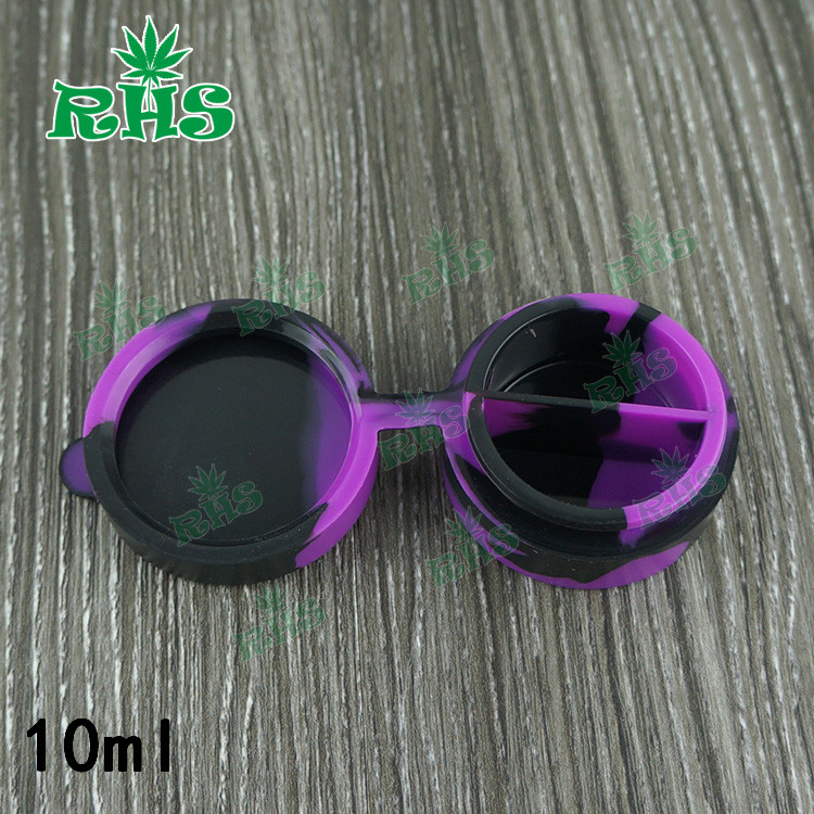 RHS Divided into two part bottom lid connected 10ml silicone container for wax/oil 100pcs free shipping by DHL