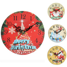 Christmas Cute Small Wall Clock Living Room Decorative Home Needle Watch Decoration Gift 1pc