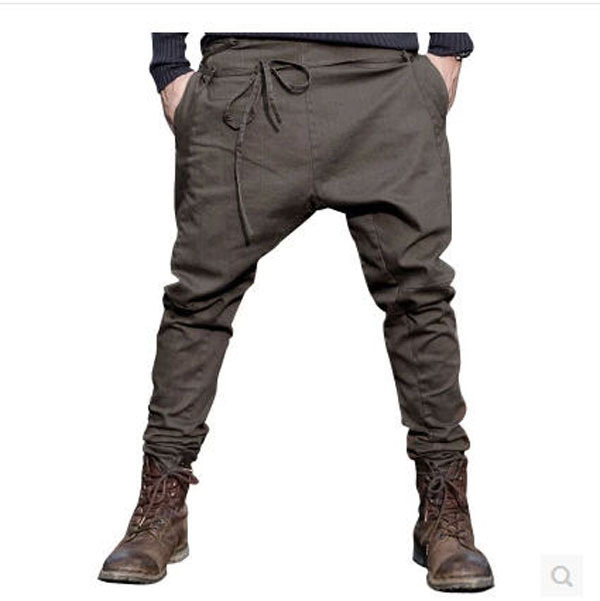 2015 New Design Men Spring Casual Crotch Harem Pants Fashion Cotton Hanging Hip Hop Drop Crotch Pants Full Length Trousers J35