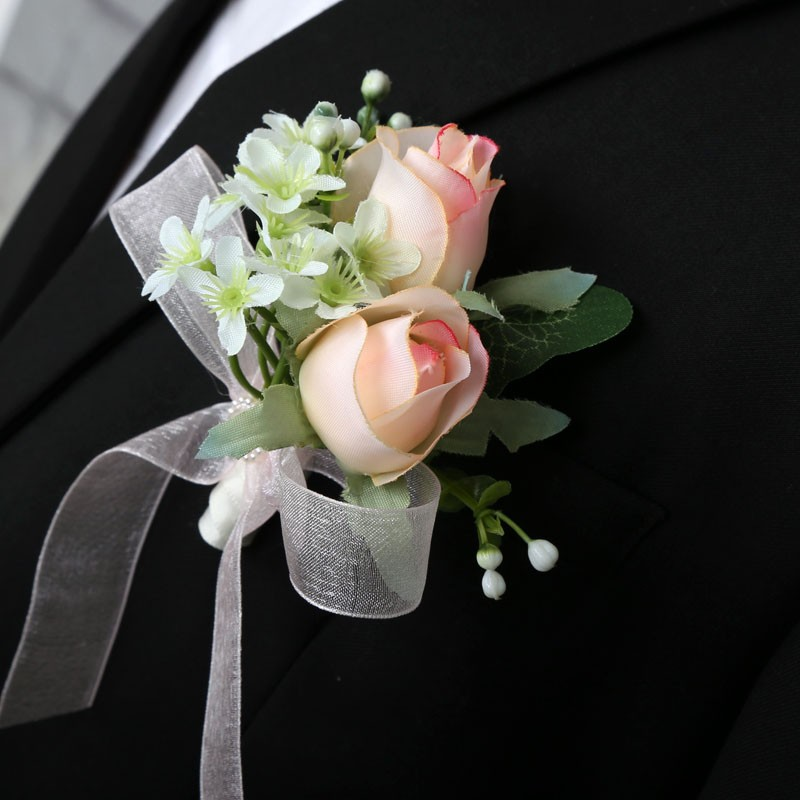 Artificial Wedding Flower Corsage Groom Best Man Boutonniere Brooch Party Decor