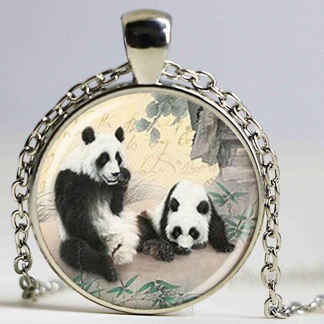 Wholesale glass lovely couple panda necklace art photo glass pendant wholesale glass lovely couple panda necklace art photo glass pendant diy bear jewelry aloadofball Gallery