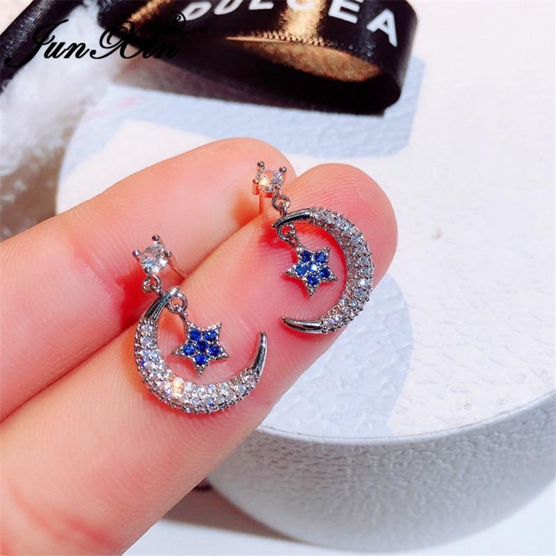 JUNXIN Girls Cute Small Star And Moon Stud Earrings For Women White Gold Needle Blue Pink Crystal Stone Korean Wedding Earrings