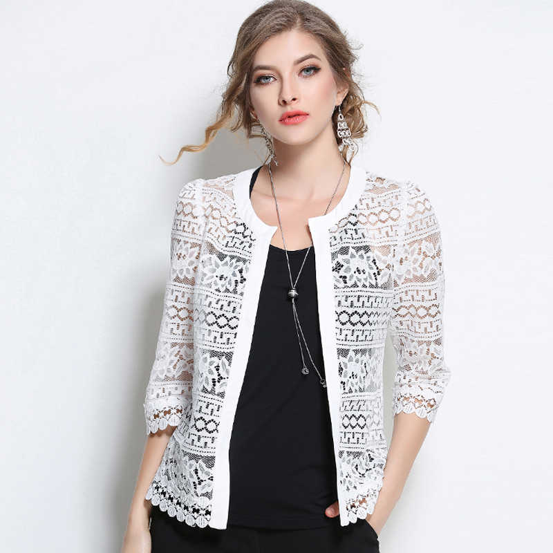 70e32f4dc 2019 Plus Size Women Clothing Ladies White Lace Blouse Summer Cardigan  Black Crochet Sexy Female blouses