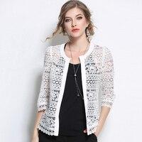 New Hollow Female Blouse Shirt Casual White Black Summer Shirt 2017 O Neck Three Quarter Sleeve