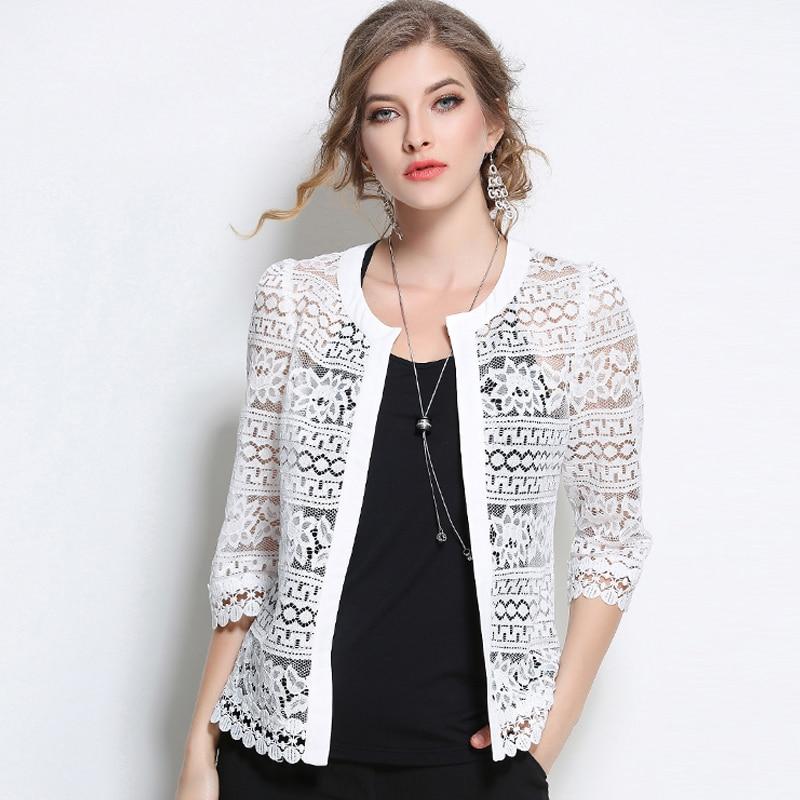 2017 плюс Размеры Женская одежда Женская белая кружевная блузка летний Кардиган черный вязаный крючком пикантные женские блузки Для женщин т...