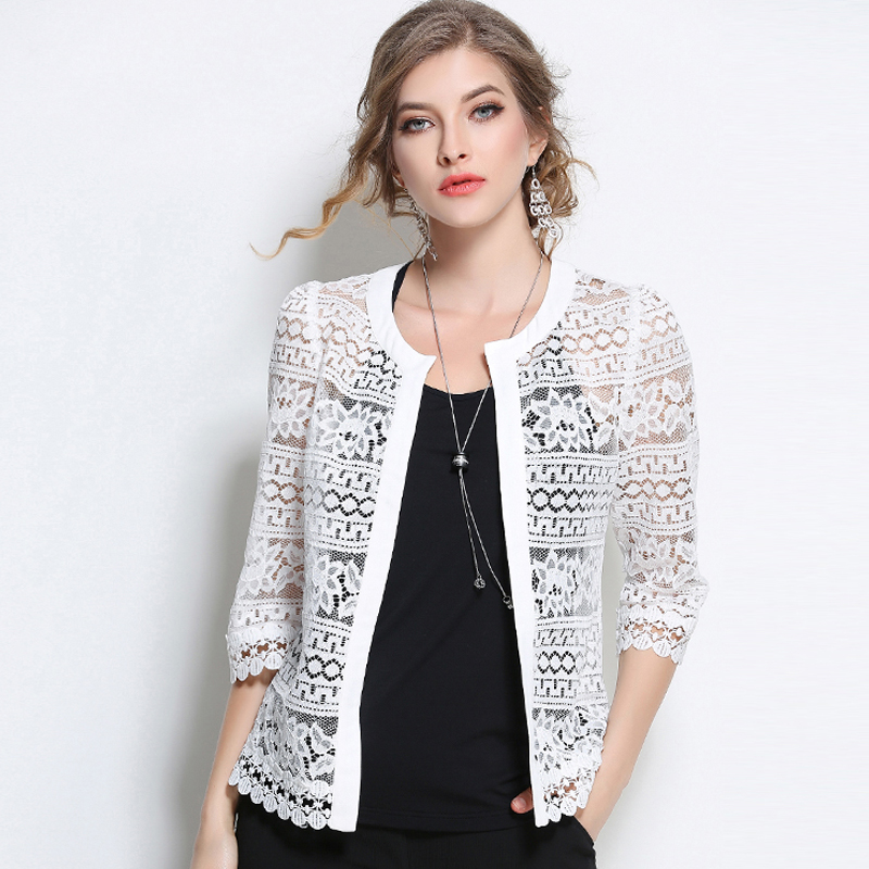 2018 Plus Size Women Clothing Ladies White Lace Blouse Summer Cardigan Black Crochet Sexy Blus wanita wanita puncak blusas 3F