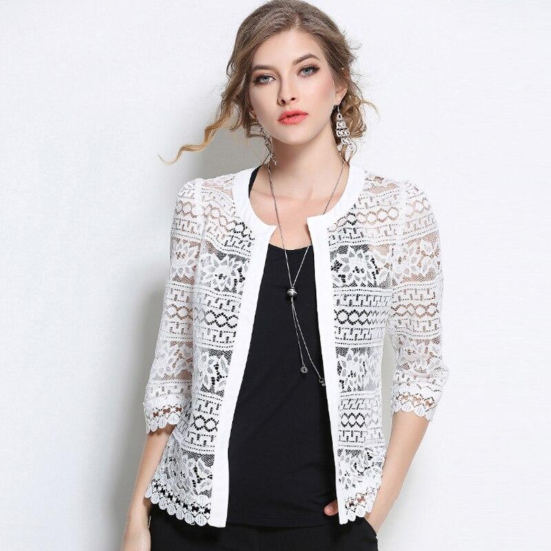 8a035b276 Aliexpress.com: Compre 2019 Plus Size Roupas Femininas Senhoras Blusa de Renda  Branca de Verão Cardigan De Crochê Preto Sexy Feminino blusas mulheres tops  ...