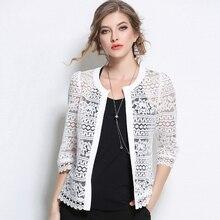 2019 Plus Size Women Clothing Ladies White Lace Blouse Summer Cardigan Black Crochet Sexy Female blouses women tops blusas 3F
