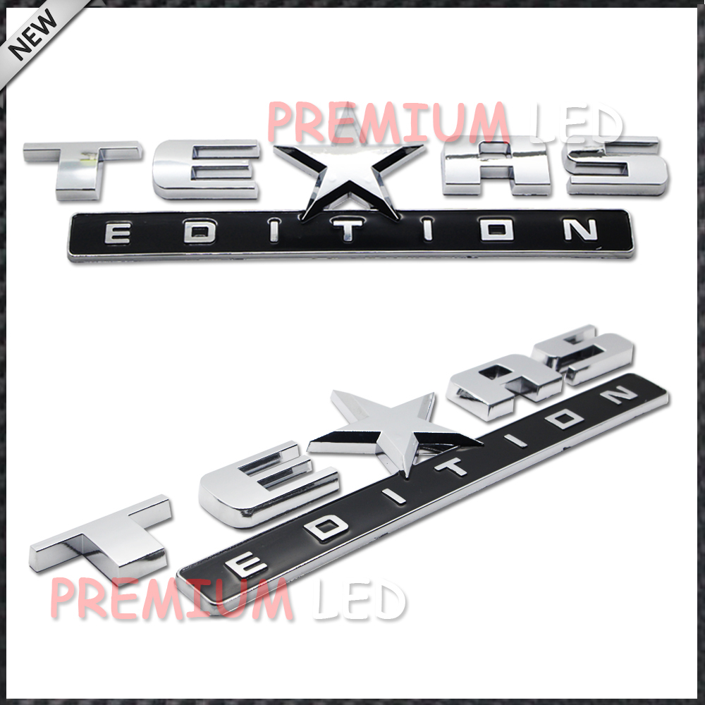 2pcs Chrome Finish 3D Texas Edition Emblem Badges For Chevrolet Silverado, GMC Sierra (Also Universal For Ford or Dodge Trucks)