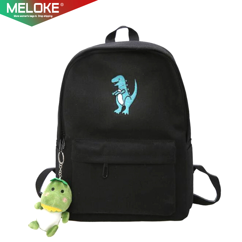 Meloke 2019 Hot Women Embroidery Dinosaur Backpack Bags Lovely Tassel School Bags Travel Bags For Girls Drop Shipping M453