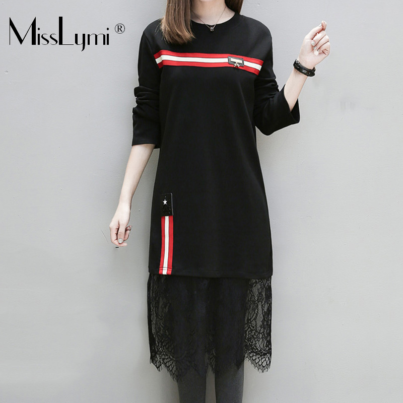 XL-5XL Plus Size Women Lace Dress Spring Autumn 2018 Long Sleeve Knitted Cotton Striped Patchwork Lace Loose Casual Midi Dresses plain loose long sleeve plus size dress