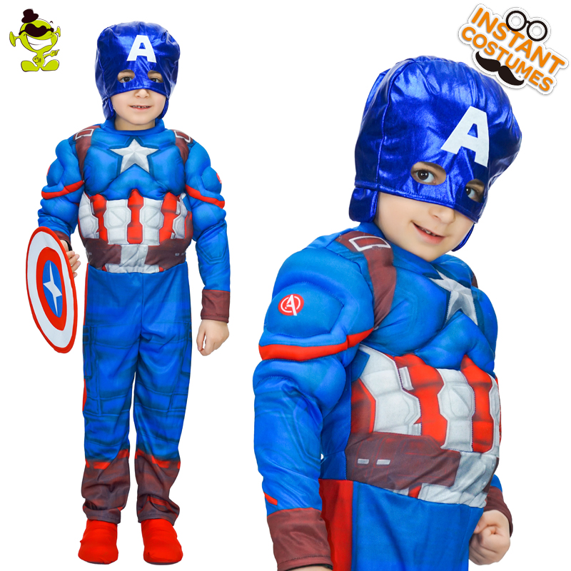 Kid's Captain America Costume Role Play Boy Muscle Superhero America Captain Jumpsuit Cosplay Carnival Party for Halloween