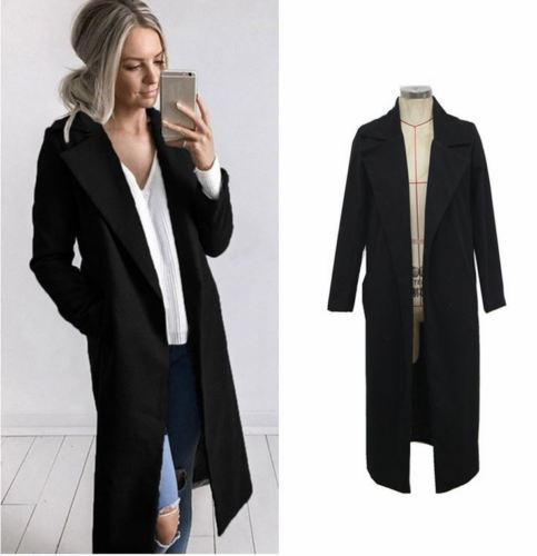 2018 new fashion Women Winter Warm Wool Lapel long Trench Coat female stylish solid Long Slim Overcoats Outwears clothes 3