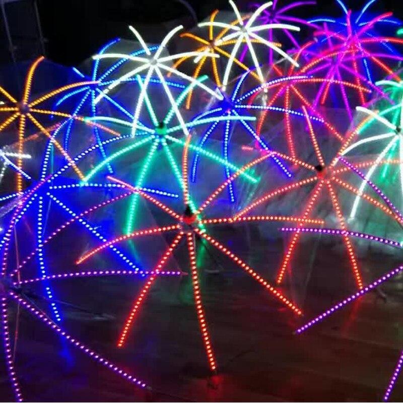 5 Pz/lotto Dhl Di Trasporto Led Luminoso Ombrello Trasparente Luce Discoteca Up Da Sera Club Bar Dj Mostra Danza Jazz Bastone Da Passeggio Prop Giada Bianca