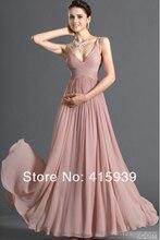Freies verschiffen!!! Brilliant a-linie mit v-ausschnitt falten ganzkörperansicht lange zipper zurück rosa chiffon abendkleid